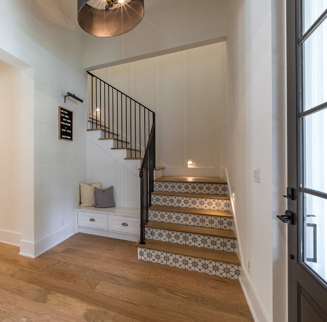 Foyer Built-in Bench Foyer Built-in Bench The front door opens to a very inspiring foyer with built-in bench and a staircase with cement tile on risers Foyer Built-in Bench #Foyer #BuiltinBench #foyerbench #bench