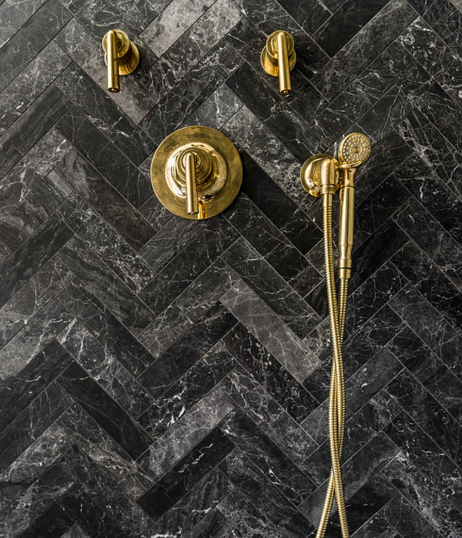 Herringbone Black Marble Shower Tile Herringbone Black Marble Shower Tile sources #Herringbonetile # BlackMarble #blackmarbletile #ShowerTile