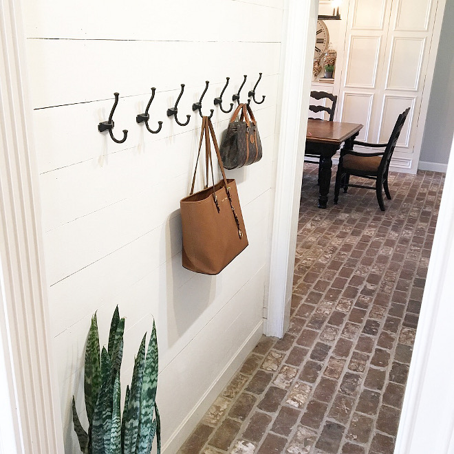 Mudroom Plank Wall Mudroom Plank Wall with hooks Mudroom Plank Wall and brick flooring Mudroom Plank Wall #Mudroom #PlankWall