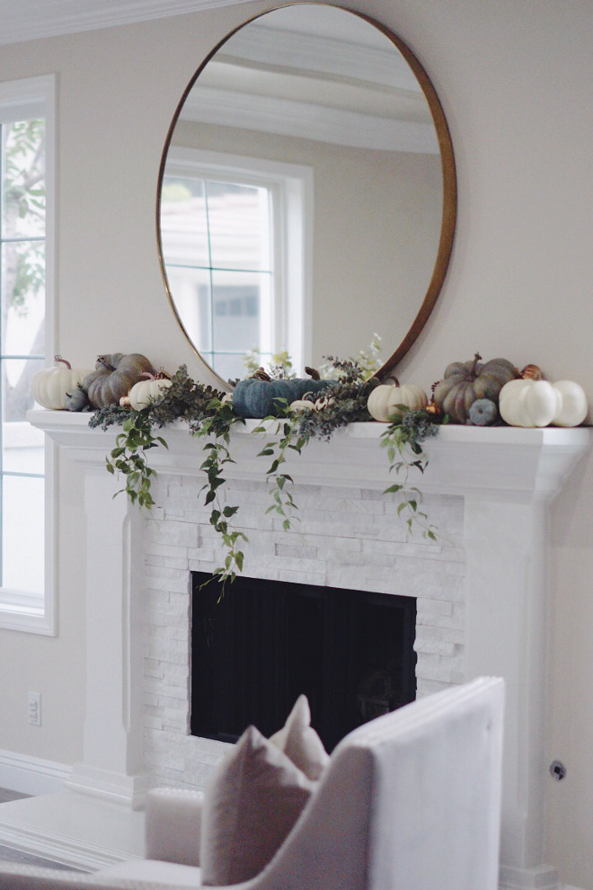 Painted white brick fireplace Fall decor ideas Neutral Fall Mantel Decor