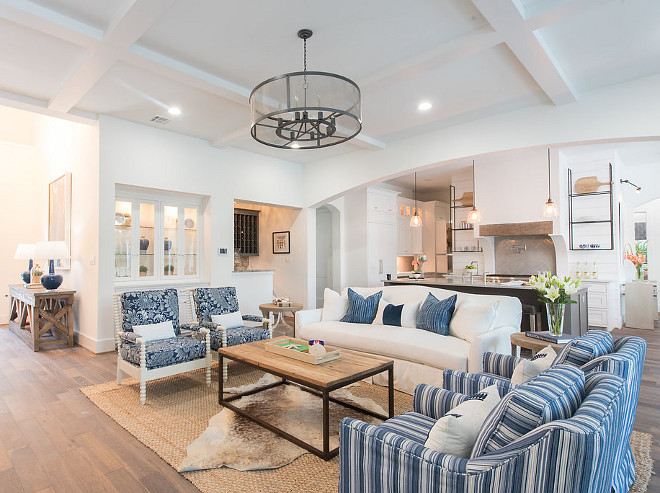 Blue and white Open Concept Kitchen Family Room Blue and white Open Concept Kitchen Family Room sources on Home Bunch #Blueandwhite #OpenConcept