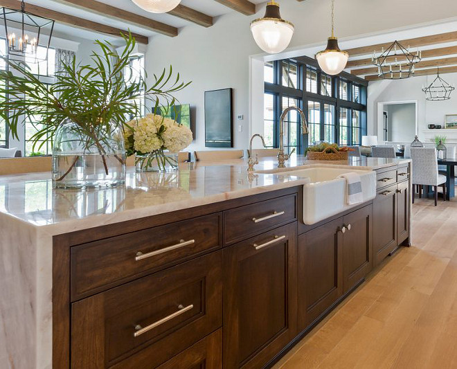 Walnut kitchen island with Quartzite Countertop waterfall edge countertop Kitchen design Kitchen ideas Walnut kitchen island with Quartzite Countertop waterfall edge countertop #Walnutkitchenisland