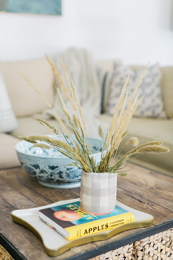 Easy and natural Fall coffee table decor