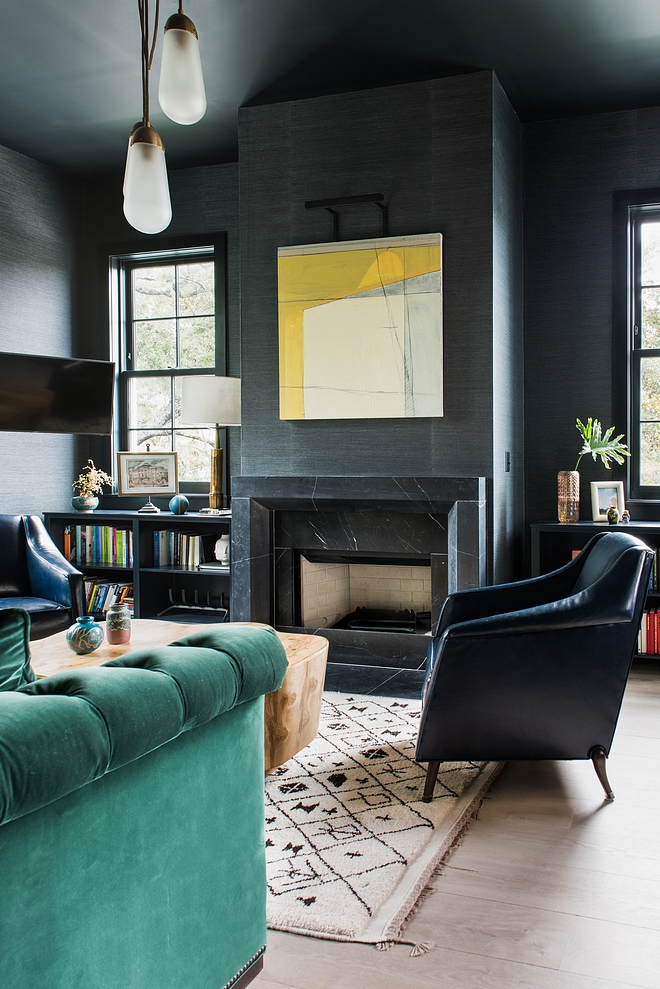 Farrow and Ball Blue Black Cabinetry Flanking Fireplace and Trim Paint Color Farrow and Ball Blue Black Farrow and Ball Blue Black #FarrowandBallBlueBlack