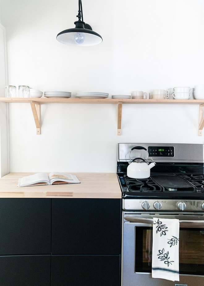 Birch Wood Countertop from Home Depot with Birch Shelves and Birch Brackets Shelves are Birch and Birch brackets are from Ikea; Ekby Valter Bracket, birch #birch #birchcountertop #brackets #shelves #kitchen