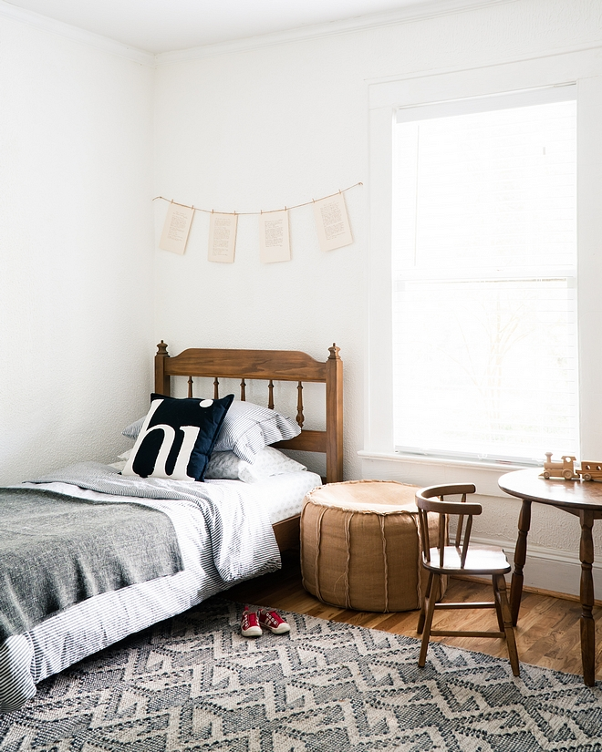 Farmhouse kids bedroom painted in Behr Ultra Pure White #farmhousebedroom #BehrUltraPureWhite