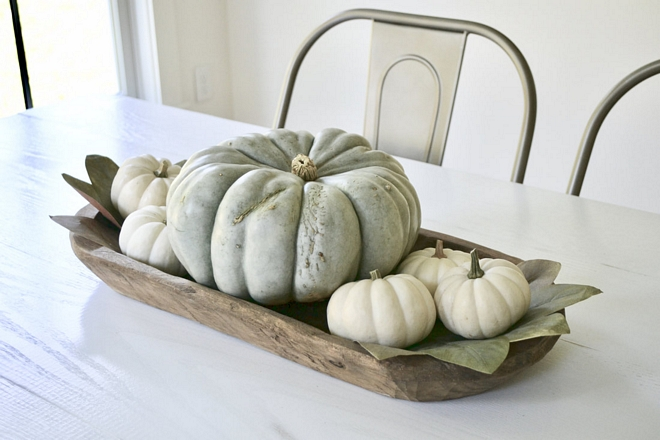 I love our dough bowl picked up from the Nashville Flea Market! I change it up every season and always fill it with neutral pumpkins for the fall season