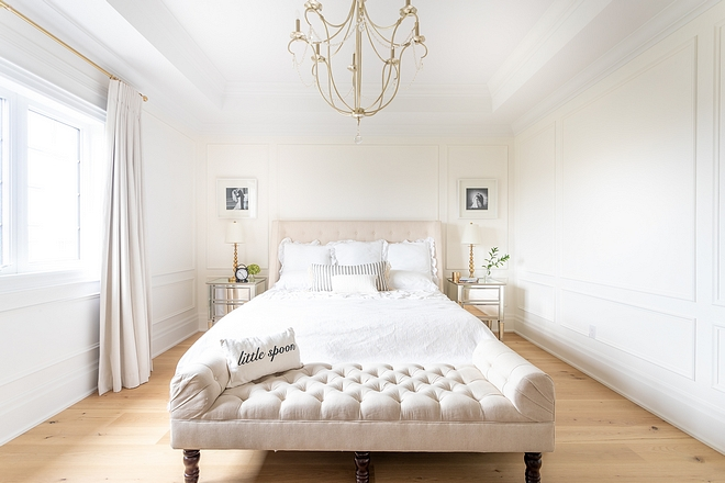 I wanted the master bedroom to be soothing and calming so I kept it all white. Natural woods and whites are my favourite combination We painted the millwork the same colour as the walls Benjamin Moore's Simply White #masterbedroom #Benjaminmooresimplywhite