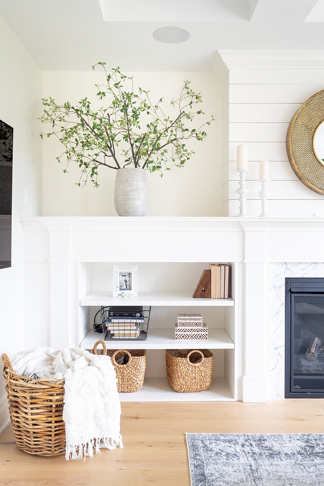 Benjamin Moore Simply White Trim, fireplace and built-ins are Benjamin Moore Simply White #BenjaminMooreSimplyWhite