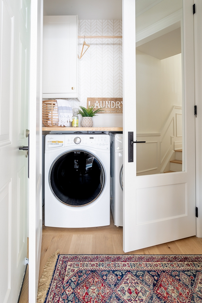 Closet Laundry Room Our laundry room was downsized to a laundry closet It's small but it's a functional and cute space #laundrycloset #ClosetLaundryRoom