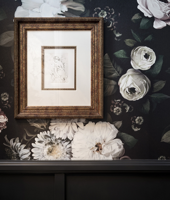 Floral wallpaper above wainscotting