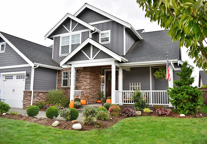 "Home exterior paint color is ""Grey Tabby"" by Glidden"