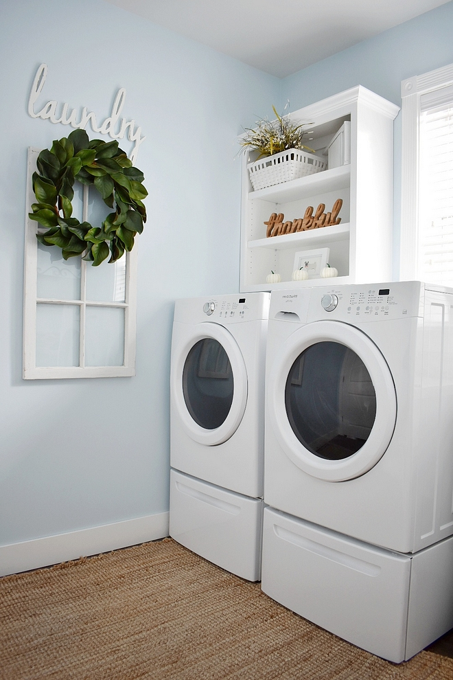 "Glidden ""Polo Blue Laundry Room paint color is Glidden ""Polo Blue"
