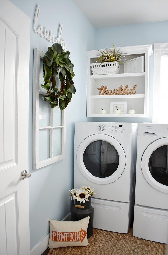Light Blue Laundry room wall paint color Glidden Polo Blue Light Blue Laundry room wall paint color Glidden Polo Blue #LightBlue #Laundryroom #paintcolor #GliddenPoloBlue