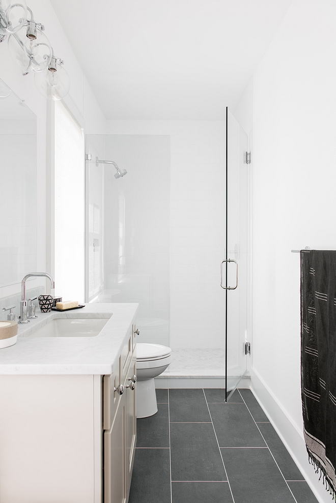 Crisp white bathroom with Black Slate Floor Tile Bathroom Black Slate Floor Tile #BlackSlateFloorTile