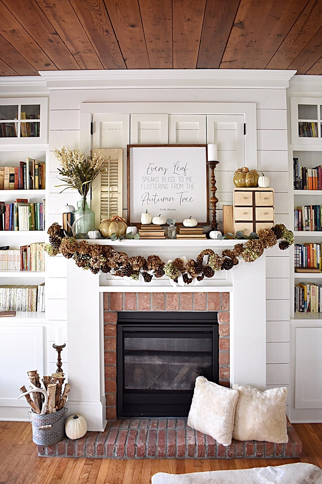 Mantel Garland Mantel Decor Last year for Christmas, I utilized dried hydrangeas everywhere in the cottage. I saved them to reuse and ended up making this unique fall garland! I took nine feet of rope and wired dried hydrangeas and pine cones, interwined with rag ties from white fabrics purchased at Goodwill and yard sales. All other accessories were sourced from thrift stores and yard sales #manteldecor #mantel #garland