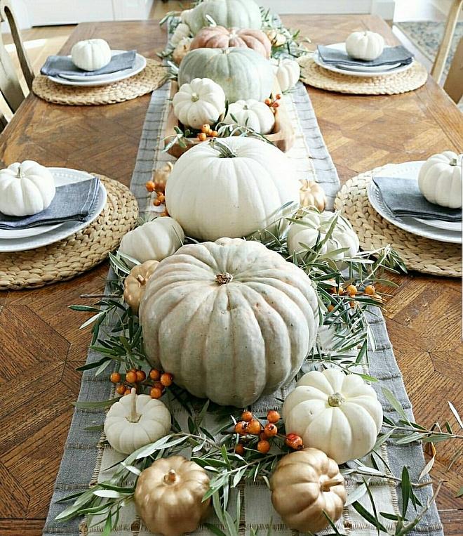 Pumpkin centerpiece metallic pumpkins