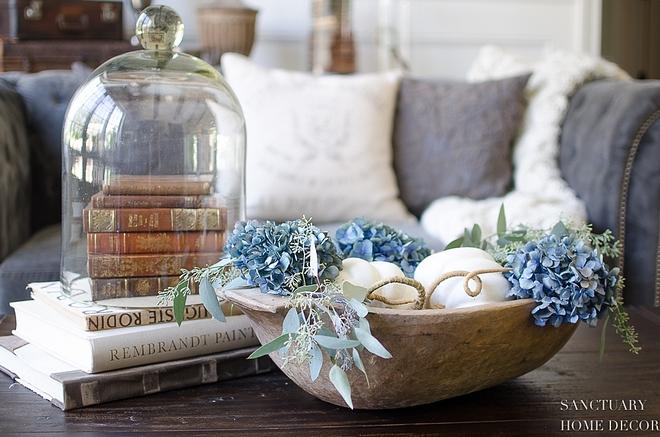 White Pumpkins and Blue Hydrangeas Antique Dough bowl coffee table decor