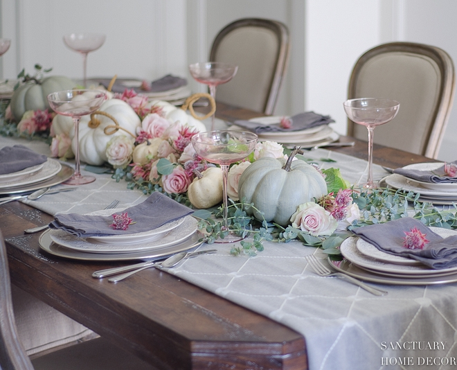 Roses and pumpkins fall tablescape