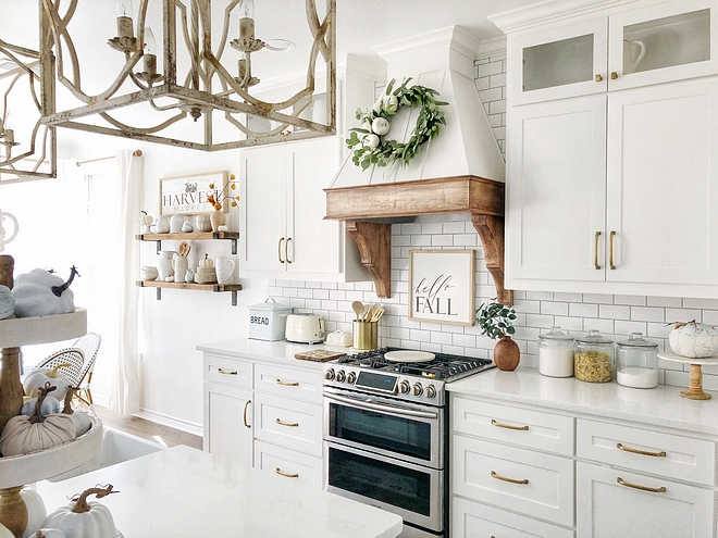 White kitchen with Fall decor