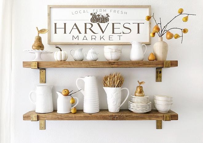 Fall Shelves Decor Farmhouse Sign Farmhouse Kitchen Fall Shelves Decor Fall Shelves Decor #Fall #Shelves #FallDecor