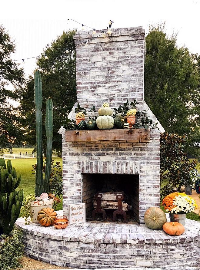 Whitewashed Brick Fireplace Outdoor Whitewashed Brick Fireplace Whitewashed Brick Fireplace #WhitewashedBrick #WhitewashedBrickFireplace