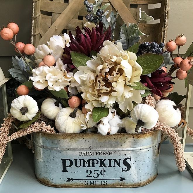 Fall Arrangment Florals and mini pumkins Fall Arrangement #FallArrangement