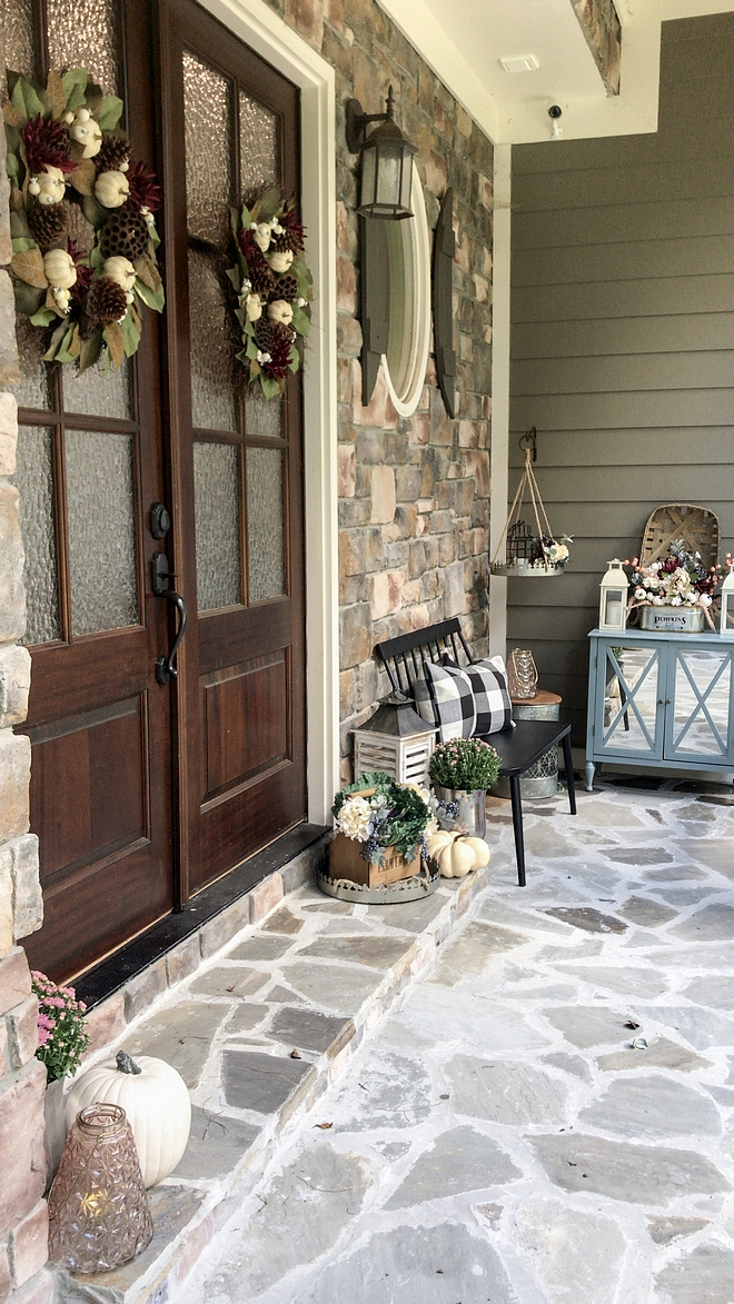 Fall Porch with bench and cabinet
