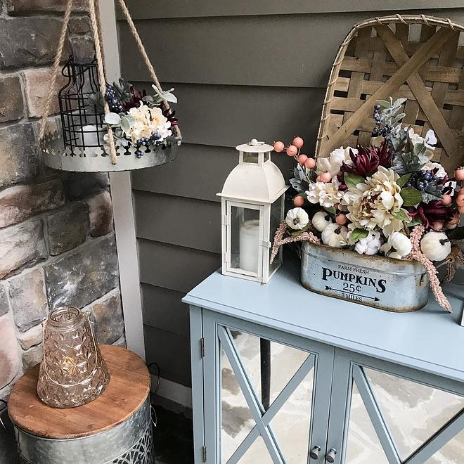 Porch Cabinet with Fall decor Porch console #porch #console #cabinet #decor #Falldecor