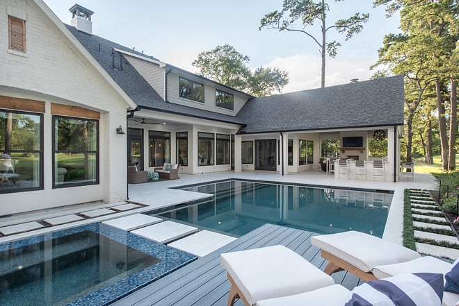 Pool and Spa New Backyard Ideas Modern Farmhouse Backyard Architecture #PoolandSpa #NewBackyardIdeas #ModernFarmhouseBackyard #Architecture