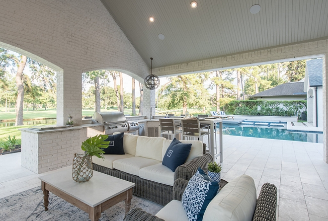 Pool Pavillion with outdoor kitchen Siding is painted Brick and ceiling is Tongue and Groove Paint Colors are specified on Home Bunch