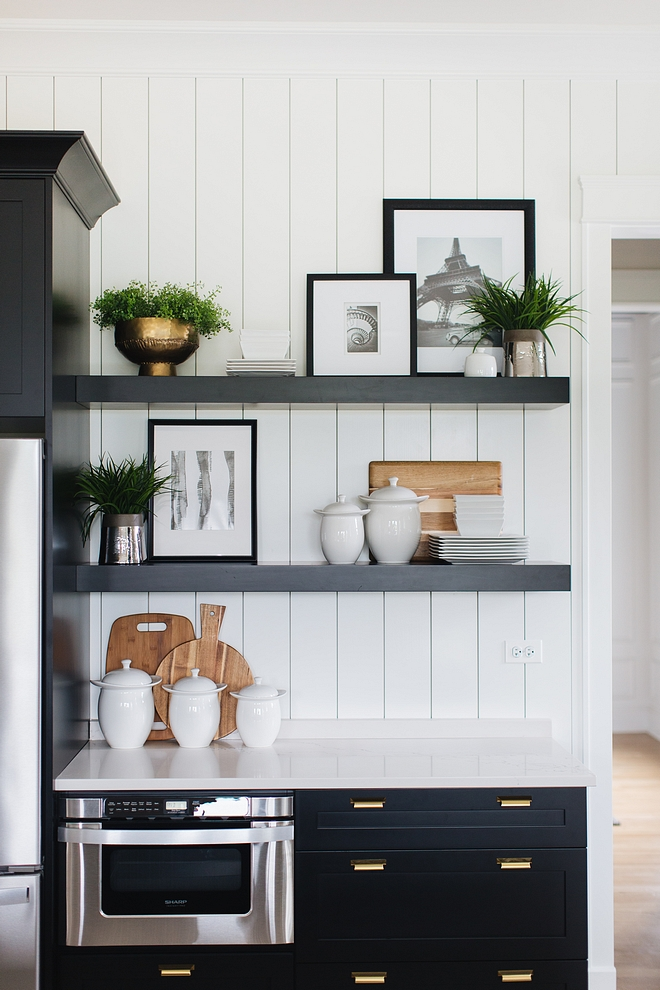 Kitchen Coffee Station Cabinet with floating shelves and vertical plank backplash Kitchen Coffee Station Cabinet with floating shelves and vertical plank backplash #Kitchen #CoffeeStation #Cabinet #floatingshelves #plank #backplash
