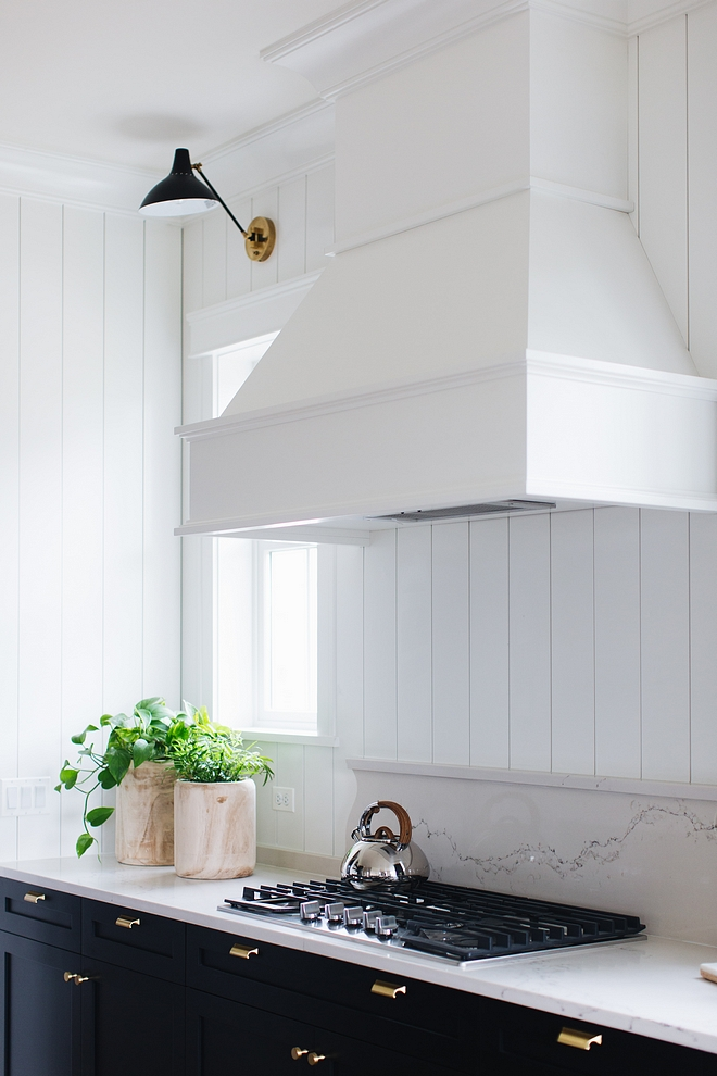 Countertop is Caesarstone Statuario Nuvo and backsplash is vertical shiplap #Countertop #CaesarstoneStatuarioNuvo #Caesarstone #StatuarioNuvo #backsplash #verticalshiplap