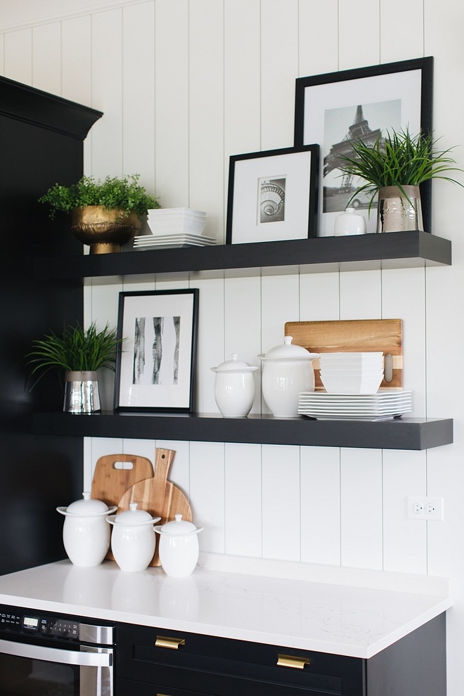 Floating Shelves Black Floating Shelves agains vertical shiplap backsplash Floating Shelves Kitchen Floating Shelves #FloatingShelves