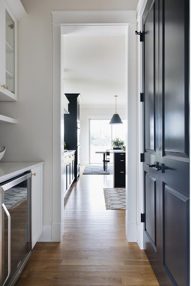 Black interior doors Black pantry door painted in Benjamin Moore Black #blackdoors #blackinteriordoor #blackBenjaminMoore #BenjaminMooreBlack