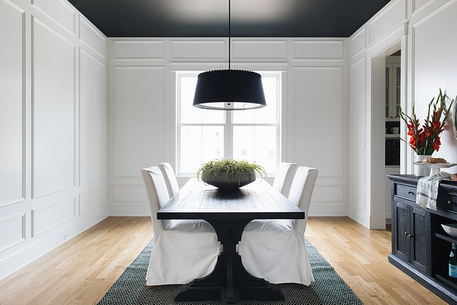 Extensive millwork using panel molding and then having the whole room painted semi gloss of Benjamin Moore's Simply White