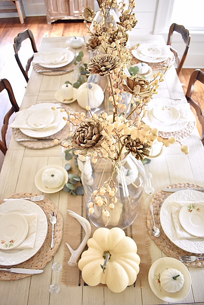 Fall tablescape In keeping with the neutral theme in my home, I wanted my fall décor to reflect the same peaceful calming atmosphere. Thus I chose to incorporate white pumpkins, muted green eucalyptus and lots of white and off-white into my tablescape #falltablescape #neutraltablescape