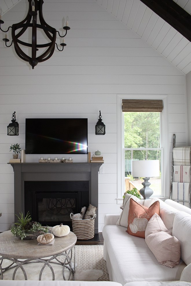 Shiplap Valted ceiling with shiplap and beams fireplace with shiplap accent wall with shiplap #shiplap