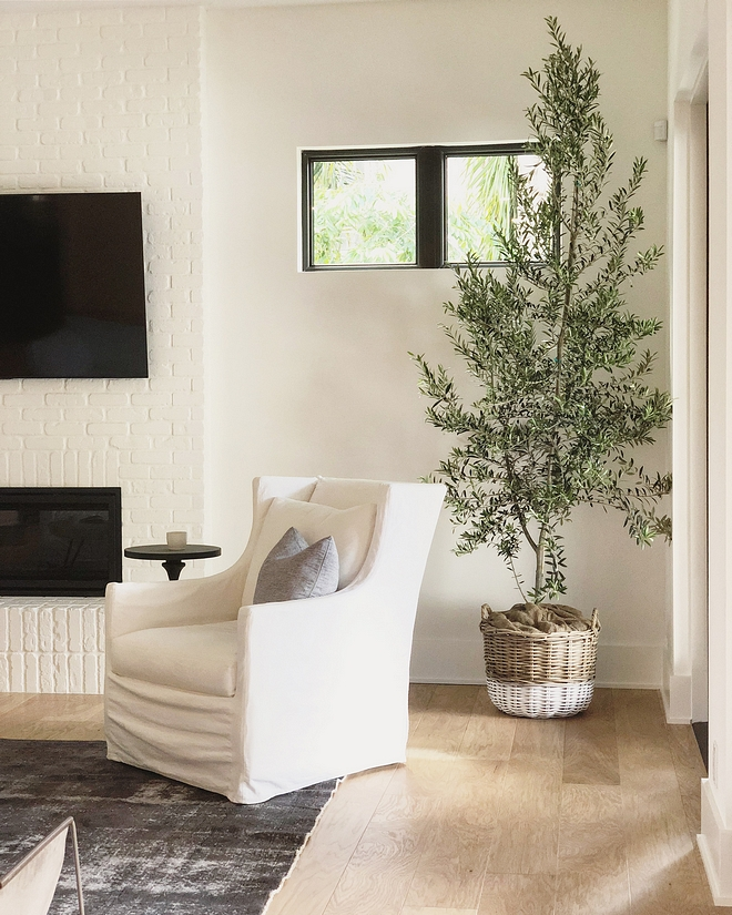 Paint color is Simply White by Benjamin Moore - on walls and also on the brick fireplace #SimplyWhite #BenjaminMoor