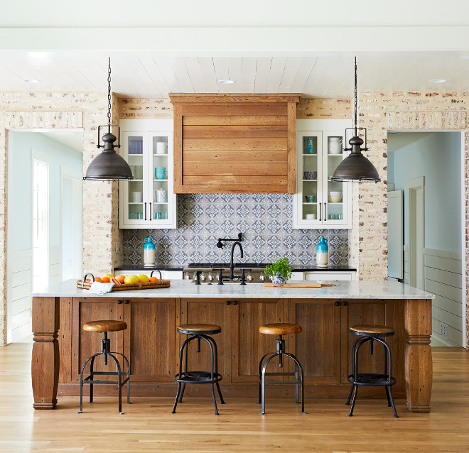 Rustic Kitchen Brick Backsplash Kitchen Brick Backsplash The kitchen island and hood are White Oak, finished with linseed oil and half gray glaze #rustickitchen #brick #backsplash #WhiteOakcabinet