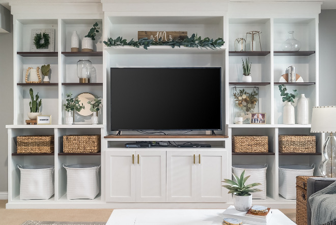 DIY entertainment center DIY Media Bookcase Basement Media TV Bookshelves DIY Bookshelf We decided to build a custom entertainment center that was functional, had storage, and also was a well designed focal point when you walk in the room #DIYentertainmentcenter