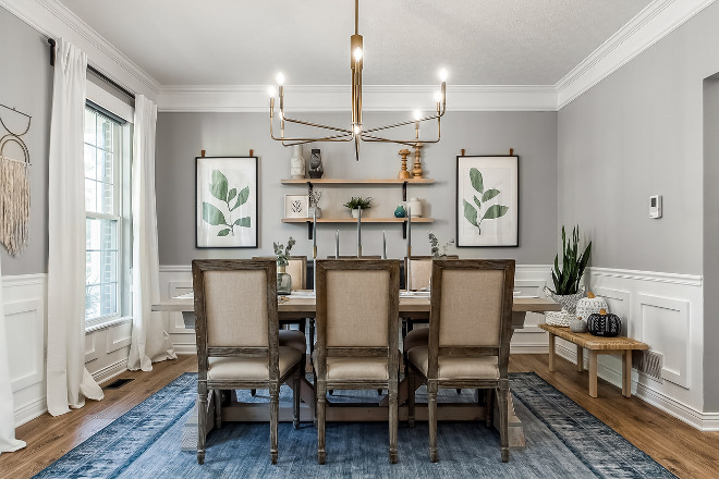 Dining Room Renovation We did a DIY update to the existing chair rail that was here when we moved in. We wanted a statement rug to ground the room and we couldn't love our non-slip, washable...yes I said WASHABLE rug more in this room #diningroom #renovation