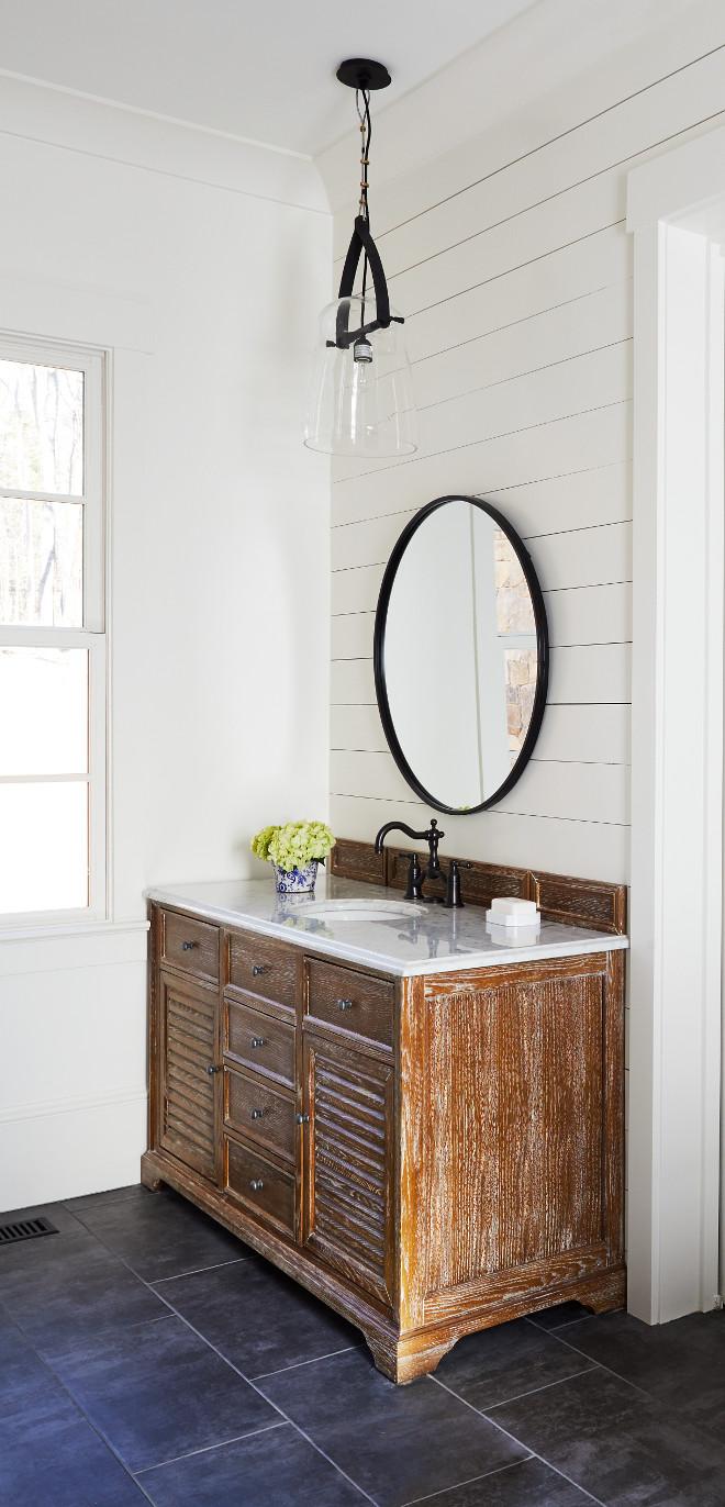 Modern Farmhouse Bathroom Driftwood Vanity and shiplap wall Modern Farmhouse Bathroom Driftwood Vanity ideas Modern Farmhouse Bathroom Driftwood Vanity #ModernFarmhouseBathroom #DriftwoodVanity #Driftwood
