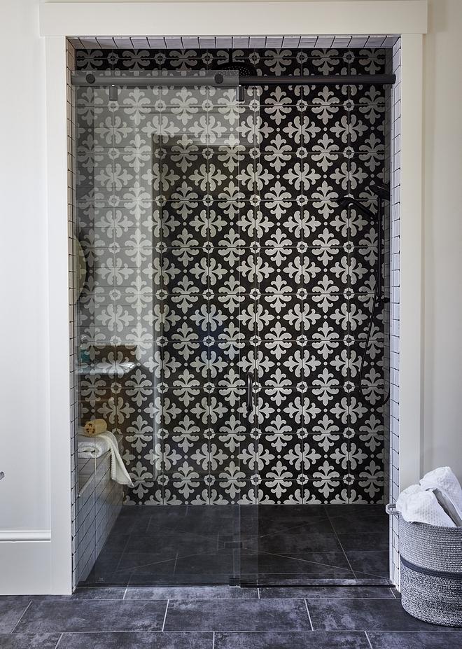 Shower cement tile accent wall Palazzo Florentina Deco Castle Graphite Shower cement tile accent wall Shower cement tile accent wall #Showertile #showerwalltile #showeraccenttile #cementtile