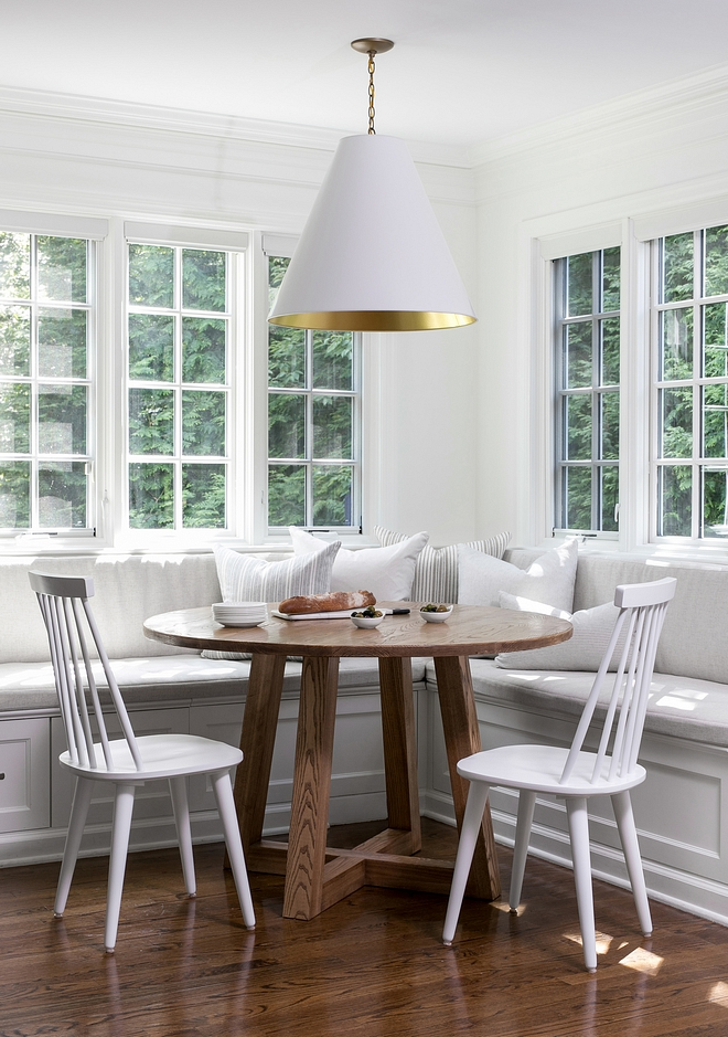 Small Breakfast room with banquette round table and spindle chairs Small Breakfast room with banquette Small Breakfast room with banquette ideas Small Breakfast room with banquette design #SmallBreakfastroom #breakfastroombanquette #banquette