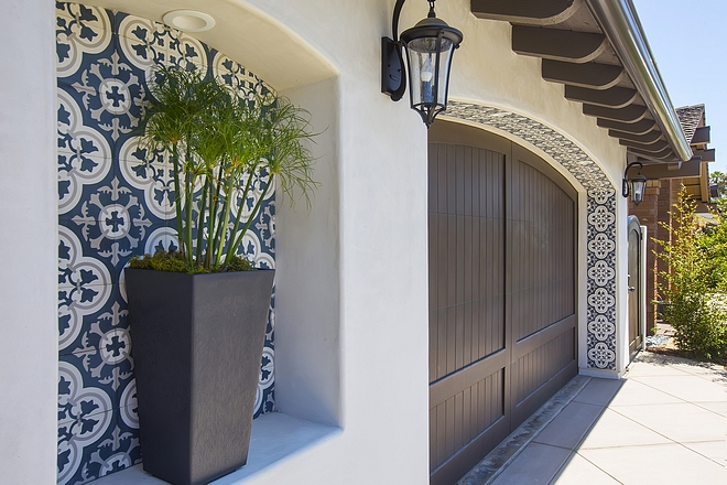Cement Tile Exterior Ideas The garage's archway also features the same cement tile #exterior #cementtile