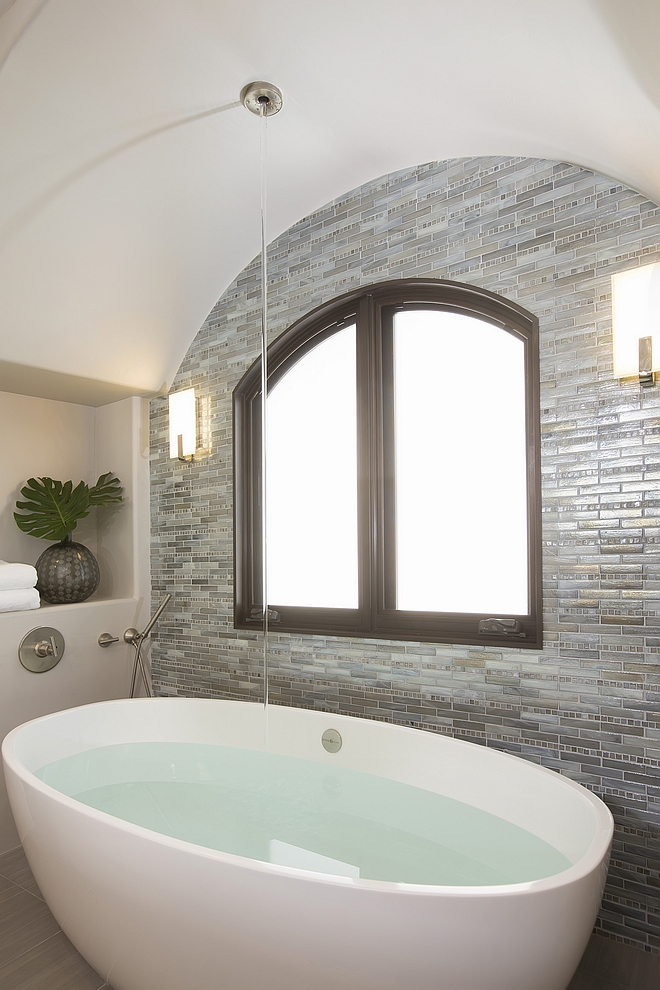 Victoria + Albert Barcelona tub with ceiling tub filler #tub #freestandingtub #ceilingtubfiller