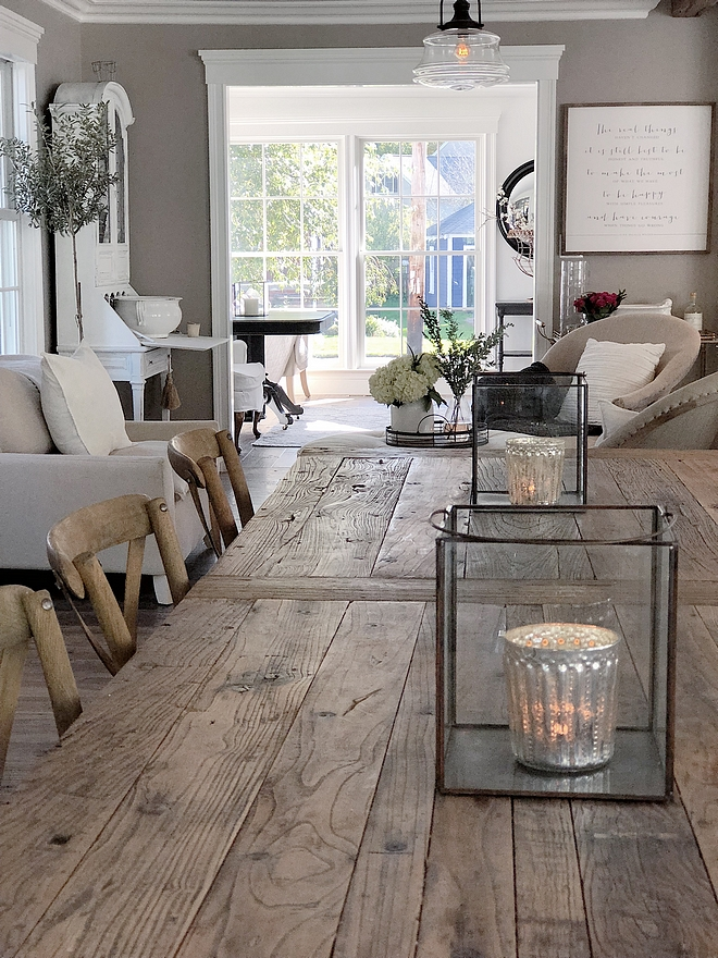 Reclaimed wood dining table A reclaimed wood dining table adds the right amount of texture to this dining room #diningtable #reclaimedwood