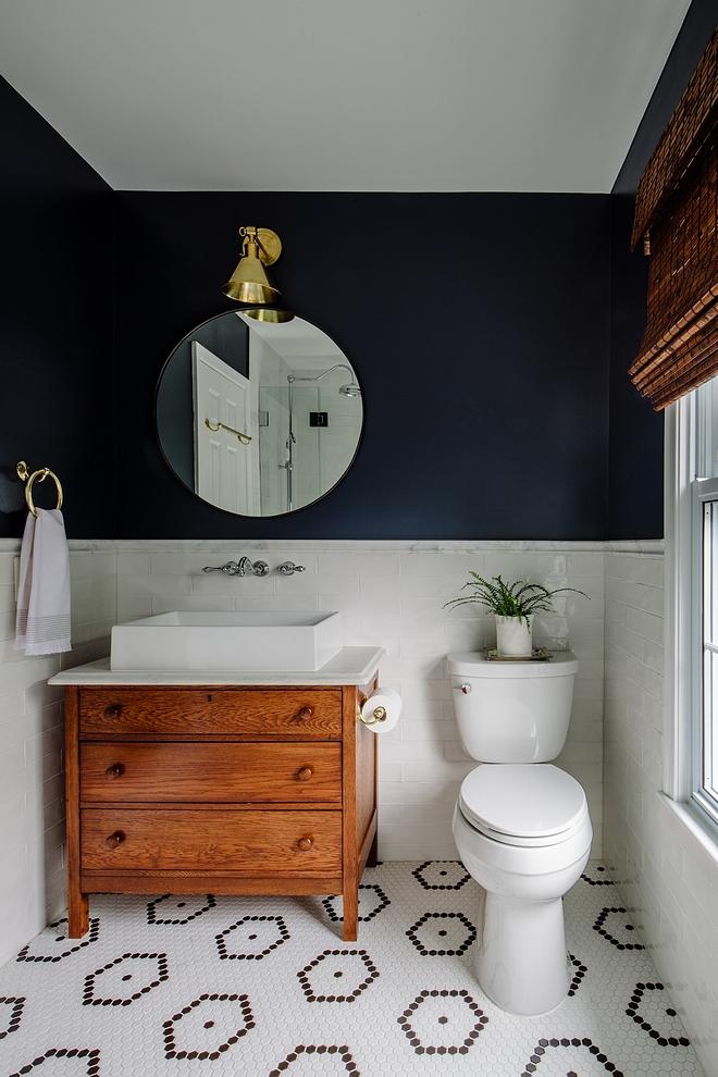 Gentleman's Gray by Benjamin Moore Bathroom with subway tile wainscoting and Gentleman's Gray by Benjamin Moore paint color Gentleman's Gray by Benjamin Moore #GentlemansGraybyBenjaminMoore