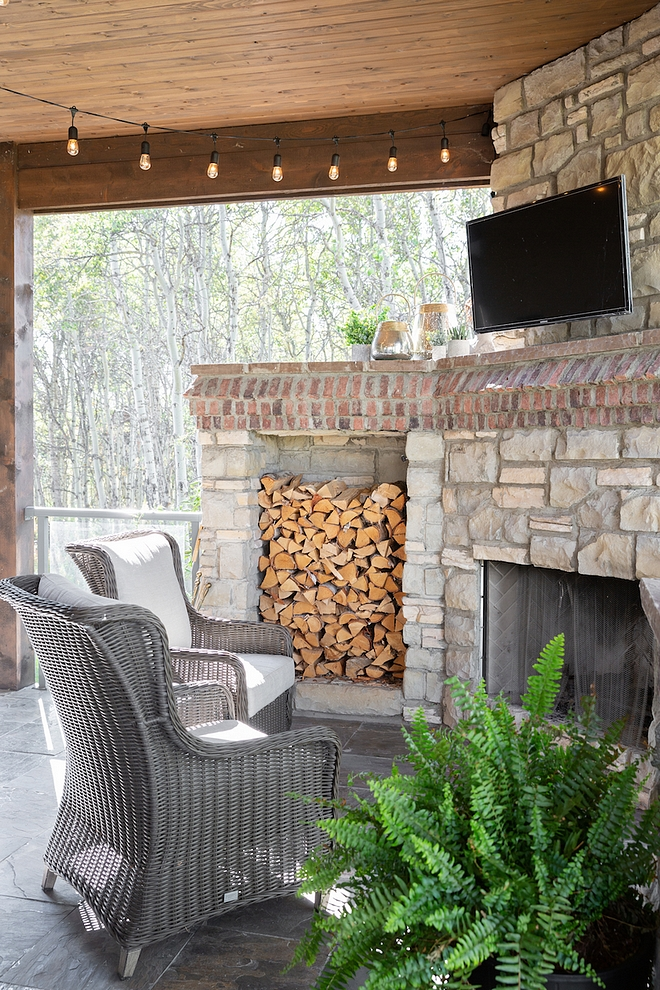 Patio Stone Fireplace with brick accent and Cedar plank ceiling Patio Stone Fireplace #Patio #StoneFireplace